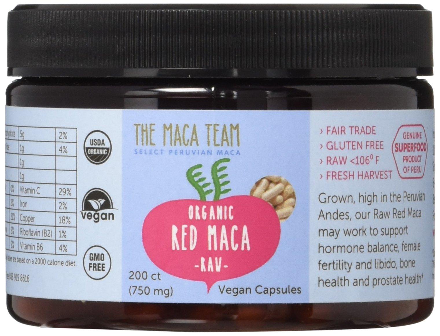 Red Maca Capsules - Raw, Certified Organic, Fresh Harvest From Peru, Fair Trade, Gmo-free, Gluten Free and Vegan - 750 Mg, 200 Ct