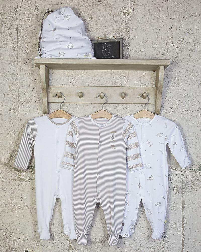 - ESS97 The Essential One Unisex Schlafanzuge//Schlafanzug//Einteiler//langarmeliger Body//Strampler 3-er Pack mit Beutel