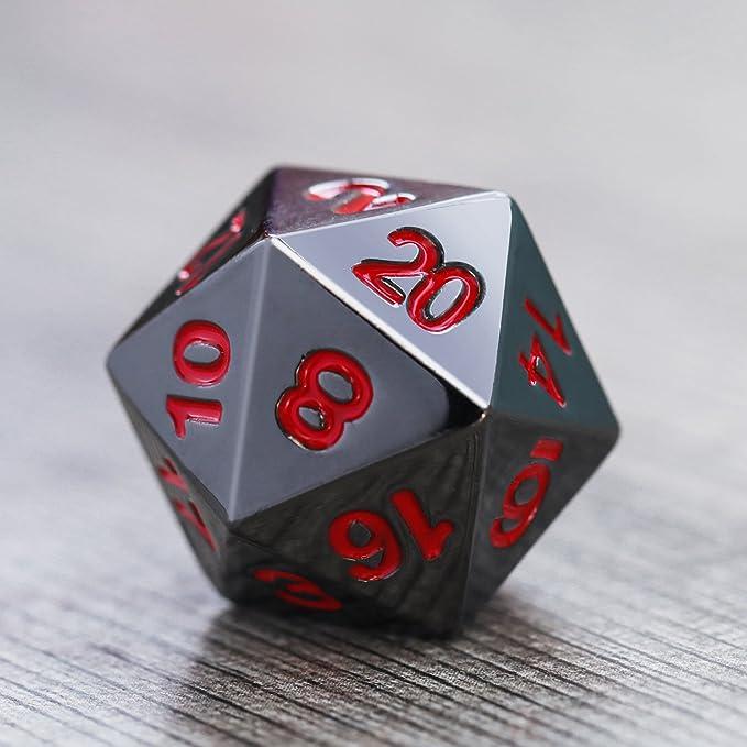 Juego de Dados 7-Die Poliédricos de Aleación de zinc Metal para Calabozos y Dragones RPG Dice Gaming Enseñanza de Matemáticas D&D, d20, d12, 2 Piezas d10 (00-90 y 0-9), d8, d6 y