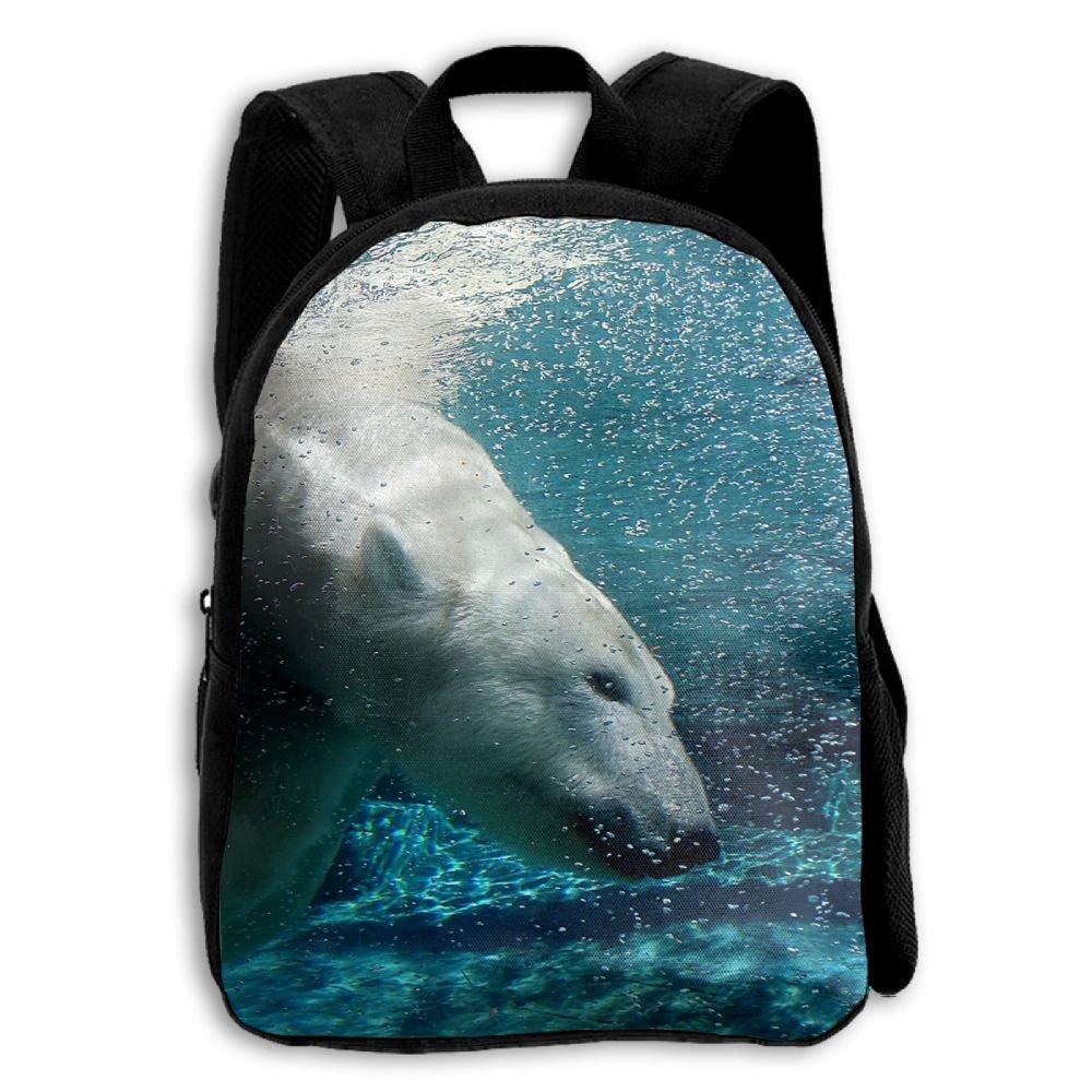 YEWEI A Polar Bear スイムアンダー 水 男女兼用 3Dプリント ワイド ジッパー 学校 トラベルバッグ ショルダーバッグ 子供 バックパック   B07G83J63B