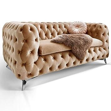 Chesterfield Sofa Couch Stoff Samt 3 Sitzer 2 Sitzer Sessel 1 Sitzer  Designer Möbel Emma (2-Sitzer, Beige)