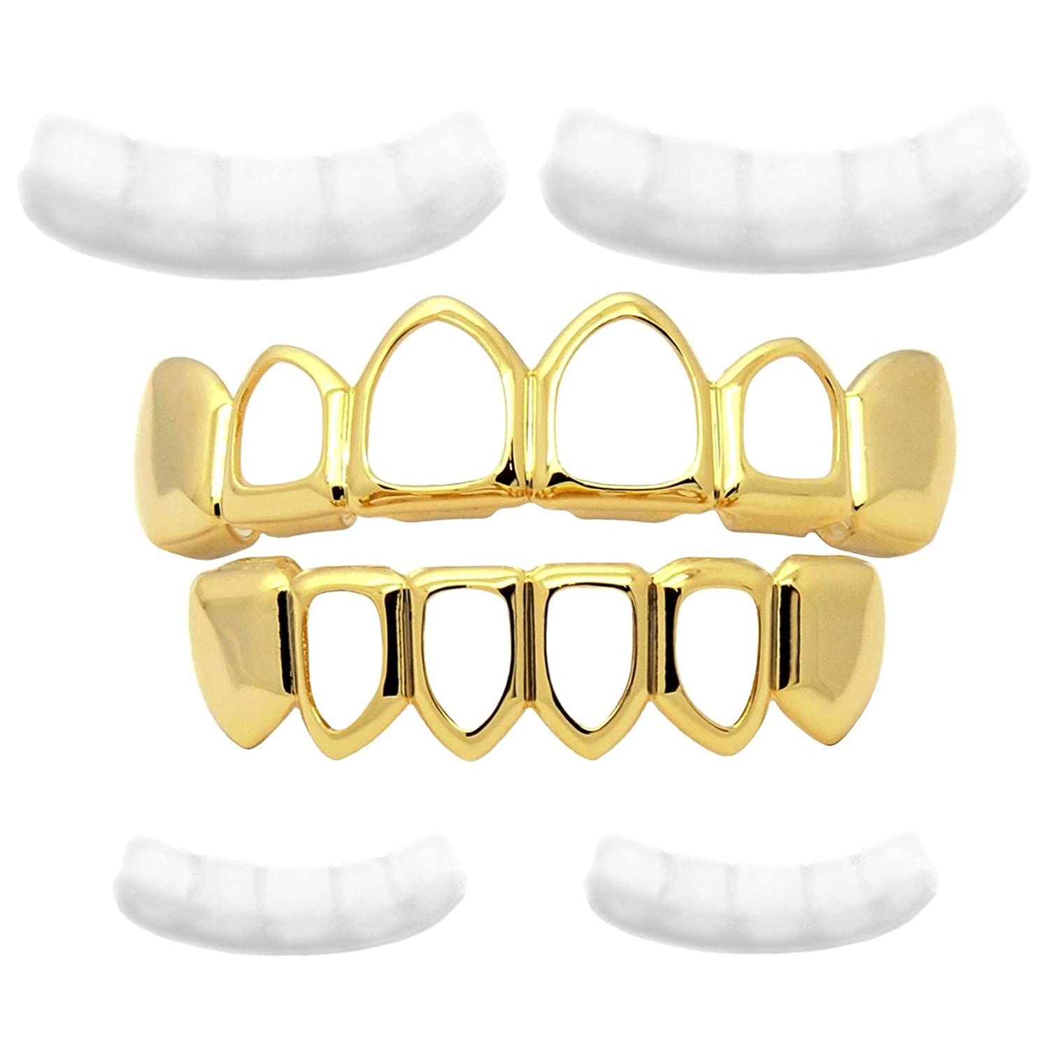 Men's 14K Gold Tone HIP HOP Hollow Top & Bottom Row HIGH QUALITY Teeth Grillz L & L Nation GPHTBG