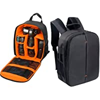 House of Quirk Waterproof Fabric Camera Backpack for SLR Camera, Lens, Tripod and Accessories with Rain Cover Protector(Orange)