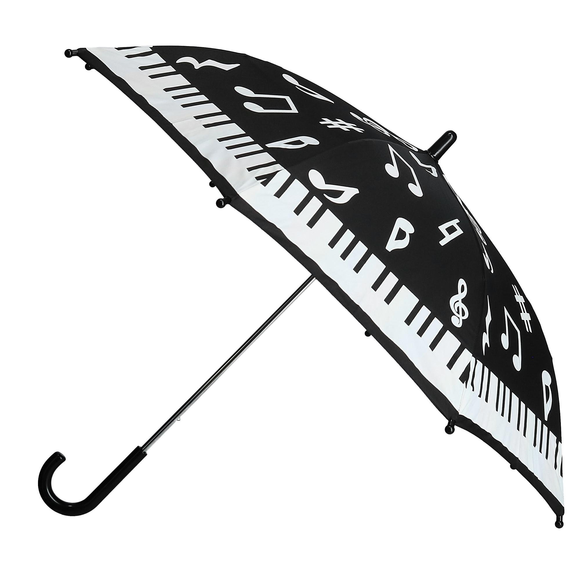 CTM Kid's Color Changing Piano Print Stick Umbrella, Black