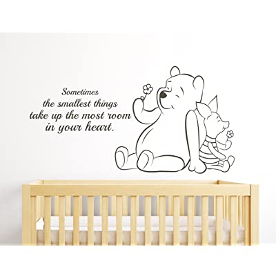 Sometimes the Smallest Things Take up the Most Room in Your Heart Winnie the Pooh Quote Nursery Wall Decals Wall Decor: Baby
