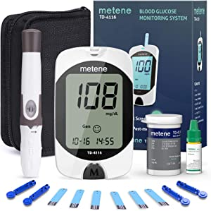 Diabetes Testing Kit, 50 Glucometer Strips, 50 Lancets, 1 Blood Glucose Monitor, metene TD-4116 Blood Sugar Test Kit with Lancing Device and Control Solution, No Coding