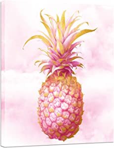LevvArts Pink Wall Art Canvas Glam Pineapple Painting Picture Print on Canvas Fashion Poster for Woman Girls Bedroom Bathroom Home Decor Stretched and Framed Artwork Ready to Hang 16x20inches