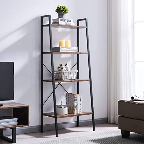 VINEXT Industrial Ladder Shelf,4 Tier Bookshelf, Indoor Plant Stand Storage Shelves, Bathroom, Living Room,Metal, and Wood Bookcase, Retro Brown