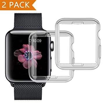 Funda para Apple Watch 42mm Series 2/ Series 3 [2 piezas], PEMOTech Suave TPU Funda [Cobertura Completa] [0.3mm Ultra delgado][HD Claro ...