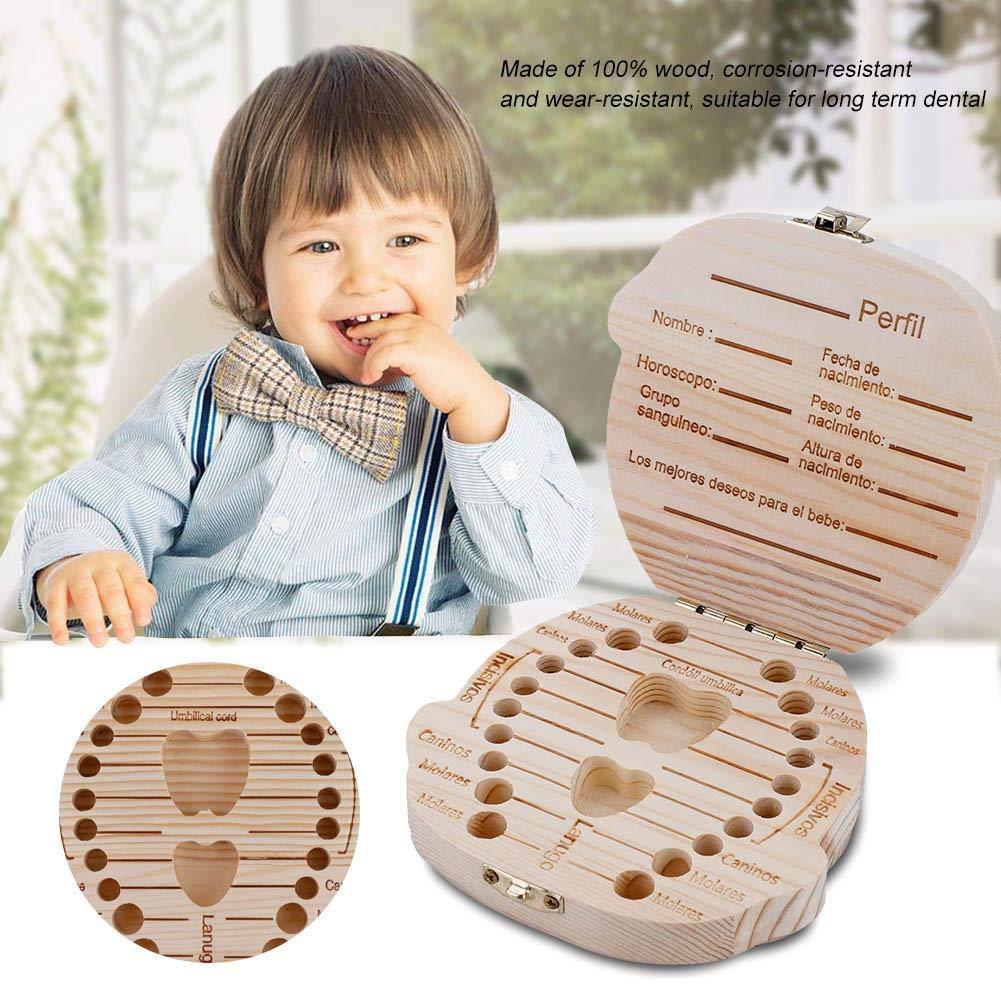 Xinan Caja De Dientes De Leche De Madera Organizador Para El Beb/é Ni/ña Espa/ñol Caja De Almacenamiento