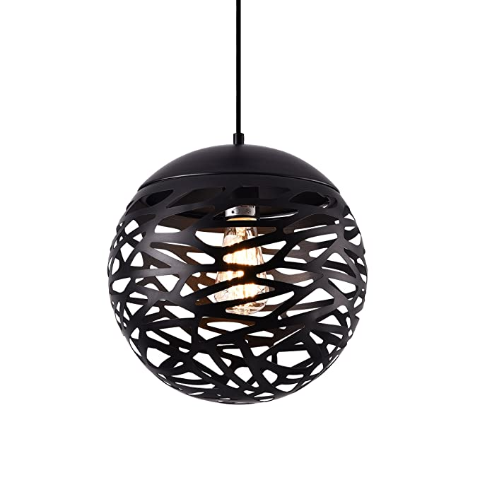 lux.pro] Lámpara de diseño Colgante Negra Metal (Altura 155 ...