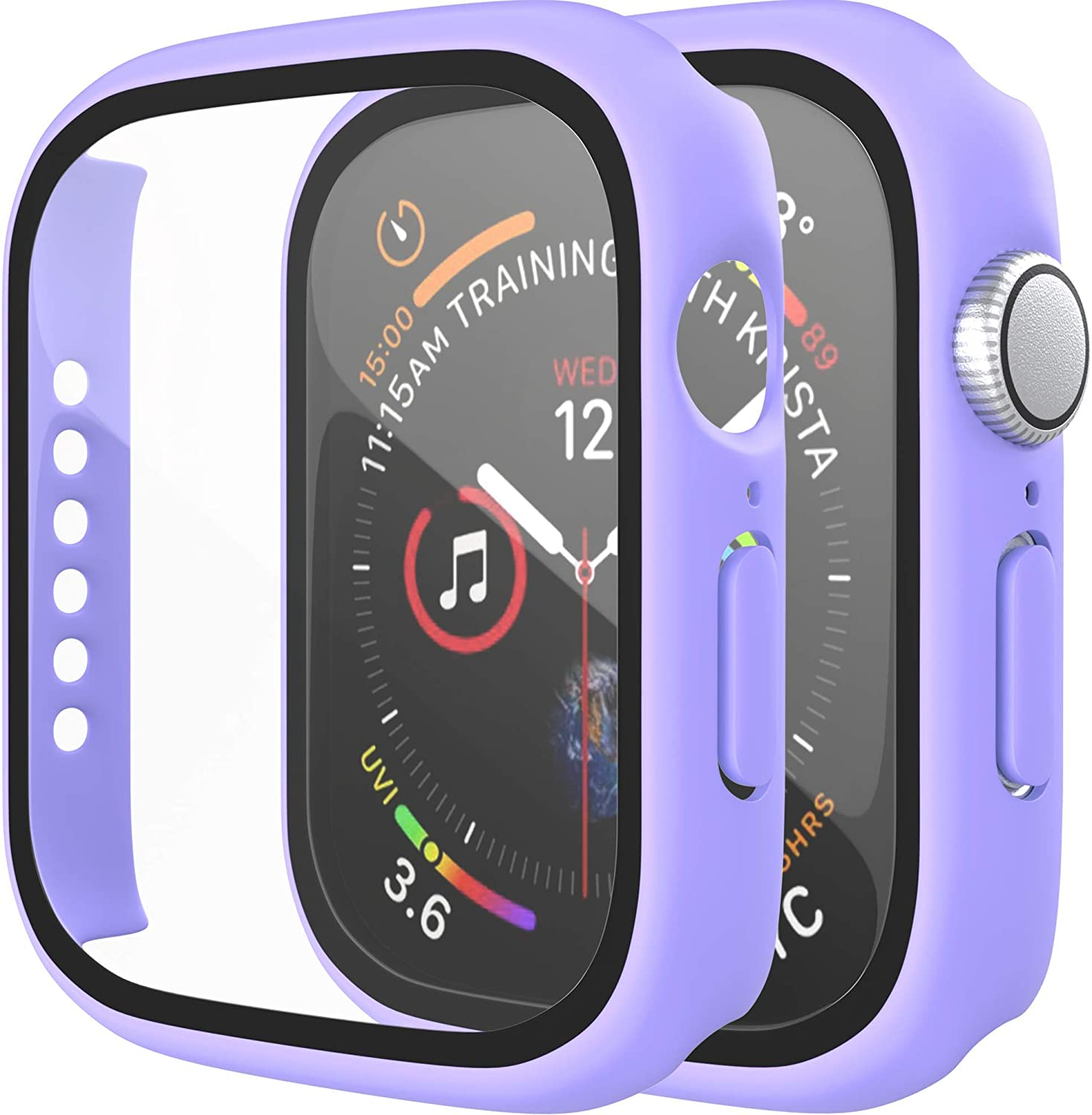 [2 Pack] D & K Exclusives Compatible with Apple Watch 40mm Case, Full Coverage Bumper Protective Case with Screen Protector for Men Women iWatch Series 6/5/4/SE, Lavender