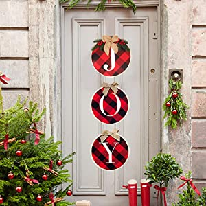 Christmas Decorations - Joy Sign Hanging Plaid Wreath for Front Door - Rustic Burlap Wooden Holiday Hanging Decor Indoor Outdoor for Home Window Wall Stairs Party