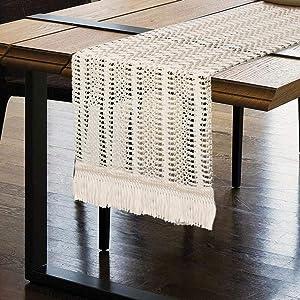 OurWarm Macrame Table Runner, Cotton Crochet Lace Boho Table Runner, Woven Table Runner with Tassels for Bohemian Wedding Bridal Shower Home Rustic Farmhouse Dining Table Decor, 12 x 72 Inch
