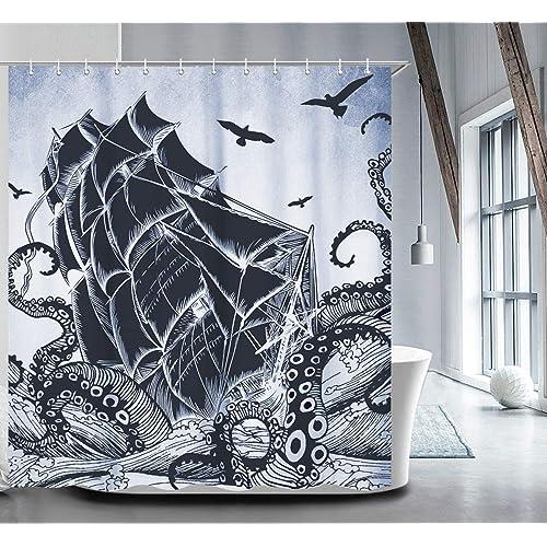 Nautical Shower Curtain Set With 12 Hooks Kraken Bathroom Curtains Fabric Decorative Bath Waterproof Anti