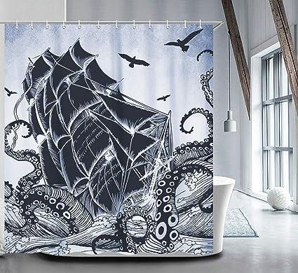 LIVILAN Nautical Shower Curtain Set With 12 Hooks Kraken Bathroom Curtains Fabric Decorative Bath Waterproof