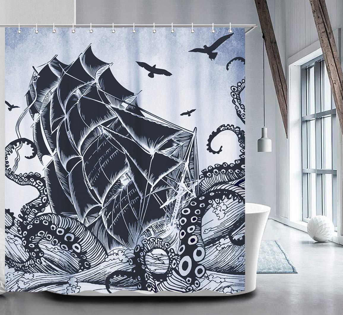 Nautical Shower Curtain Set with 12 Hooks Kraken Bathroom Curtains Fabric Decorative Bath Curtain Waterproof Anti-Bacterial Shower Curtain Liner72 x72