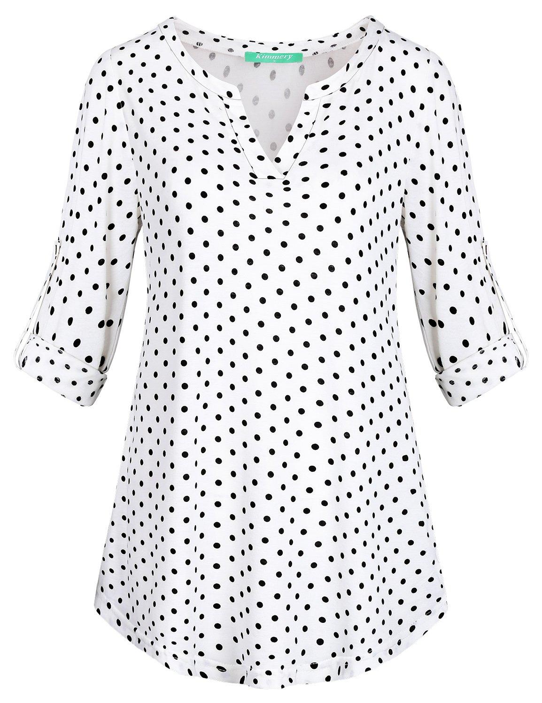 Kimmery Flattering Tops for Women, Loose Fitting Pullover Polka Dot Blouse Split V Neck Long Sleeve Tunic Slightly Longer at The Back Relaxed Fit Shirt to Wear with Leggings White Large