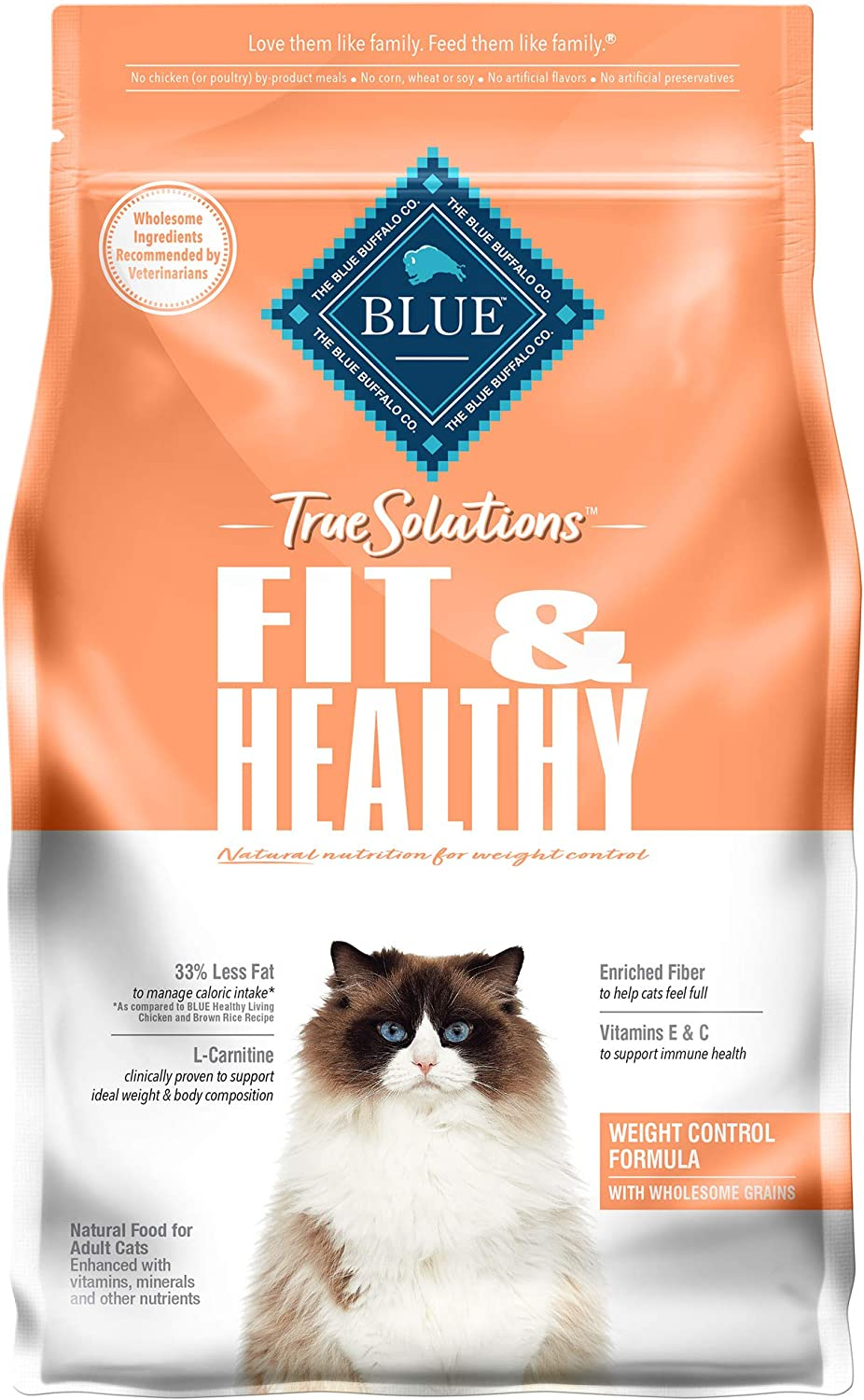 Blue Buffalo True Solutions Fit & Healthy Natural Weight Control Adult Dry Cat Food, Chicken 3.5-lb