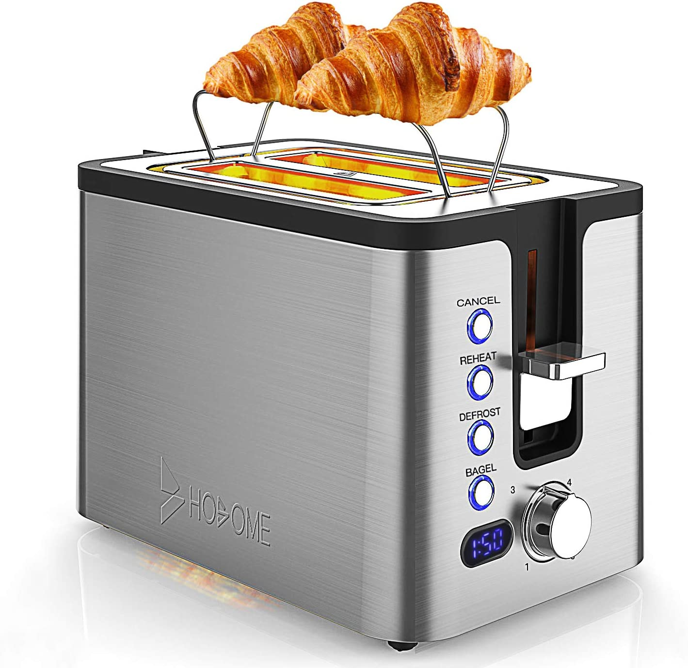 2 Slice Toaster, Hosome Stainless Steel Bread Bagel Toaster Extra Wide Slots Toasters with Warming Rack, 6 Shade Settings, LED Display, Removable Crumb Tray, Bagel Defrost Reheat Cancel Function, 800W
