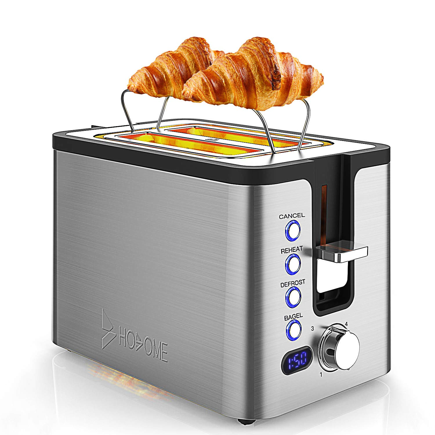 2 Slice Toaster, Hosome Stainless Steel Bread Bagel Toaster Extra Wide Slots Toasters with Warming Rack, 6 Shade Settings, LED Display, Removable Crumb Tray, Bagel/Defrost/Reheat/Cancel Function, 800W by Hosome