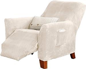 Great Bay Home Velvet Plush Stretch Recliner Slipcover. Velvet Recliner Furniture Protector, Soft Anti-Slip, High Stretch (Recliner, Off-White)