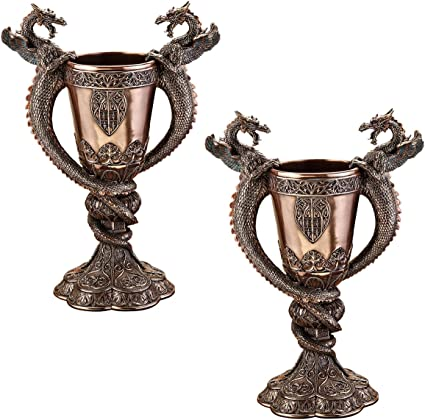 Design Toscano Shadowcrested Tomb Guardians Dragon Chalice Set Of Two Collectible Figurines Garden Outdoor