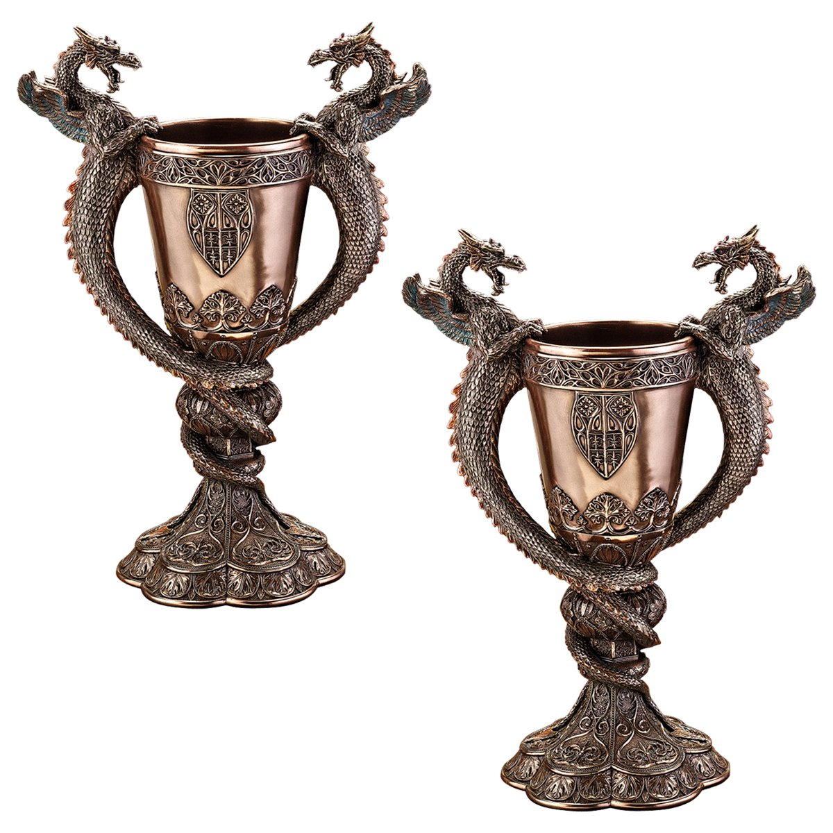 Design Toscano Shadowcrested Tomb Guardians Dragon Chalice: Set of Two