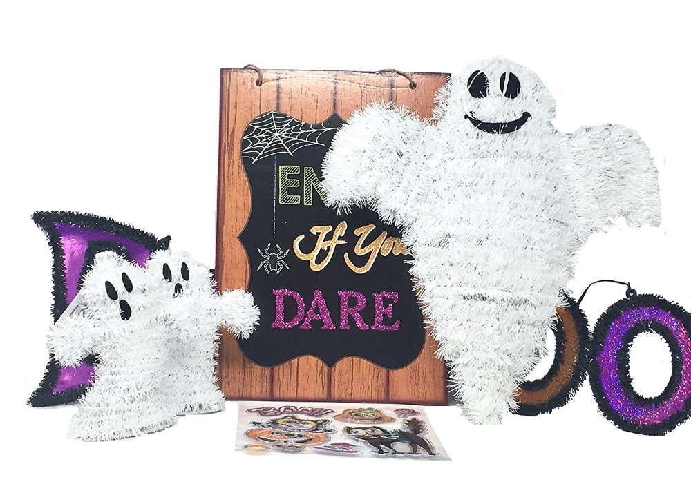 3 Ghosts Halloween Ghost Theme Decorations Stickers Bundle 7 Items Enter of You Dare and Boo Signs