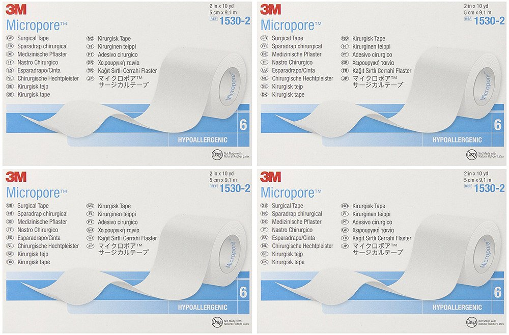 3M Micropore Tape 1530-2, 6 Rolls (4 Sets)