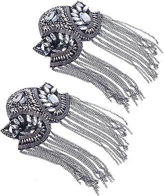 Silver 2 pcs Long Tassel Vintage Epaulet Handmade Chain Shoulder Brooch Unisex for Ceremony Performance