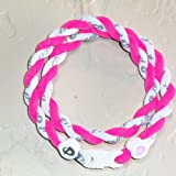 "Phiten Tornado Necklace: Hot Pink/White 18"" Finished Length"