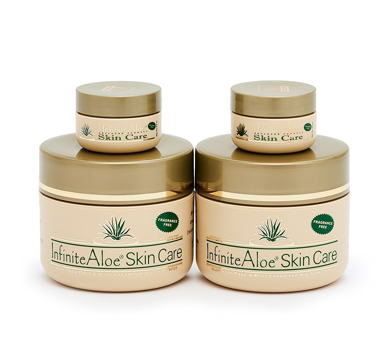 Infinite Aloe Skin Care Cream, Fragrance Free, 8oz. - 2 Jars - ** (Plus 2 Bonus 0.5 oz InfiniteAloe Travel Jars) **