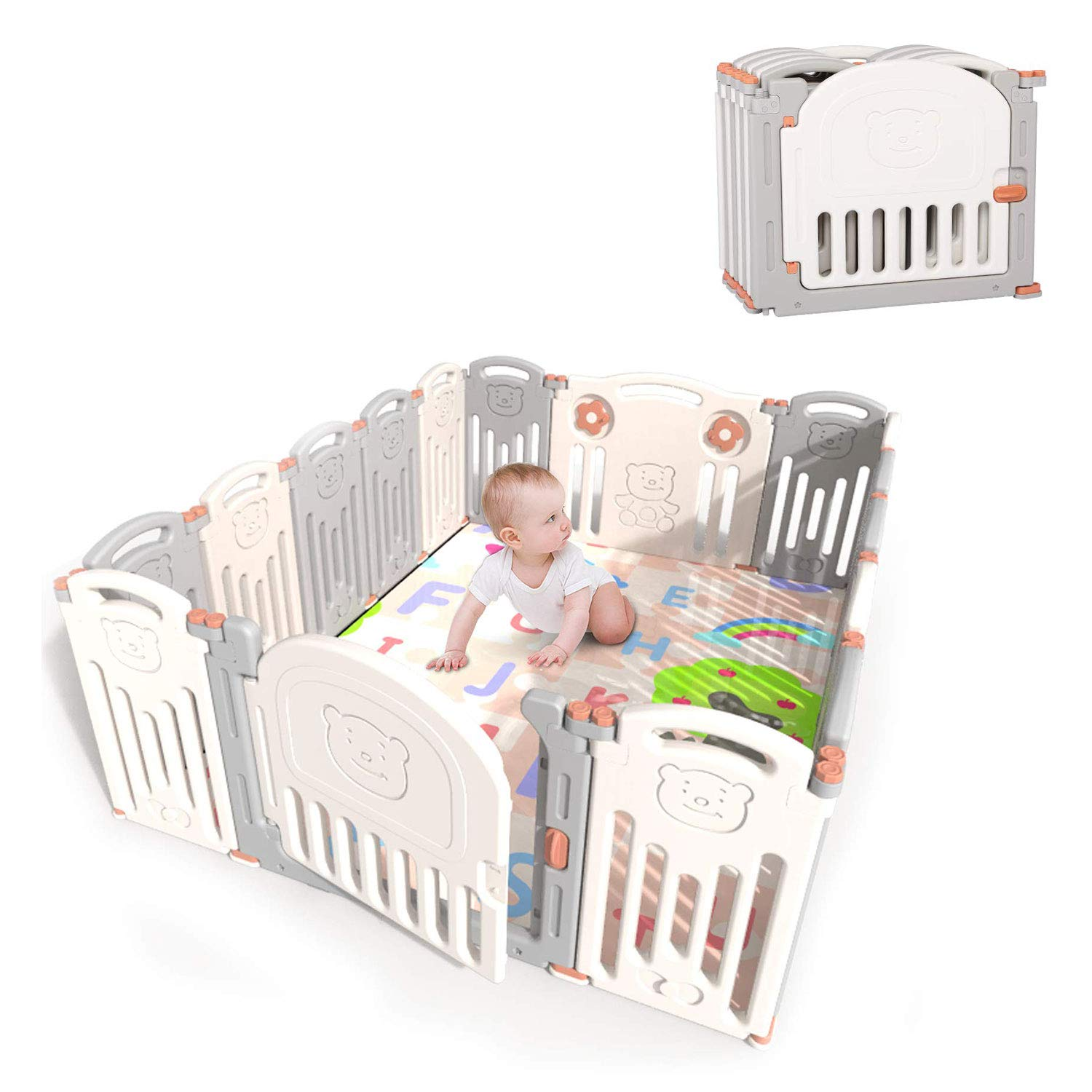 Kidsclub Baby 16 Panel Playpen Activity Centre Safety Play Yard Foldable Portable HDPE Indoor Outdoor Playards Fence