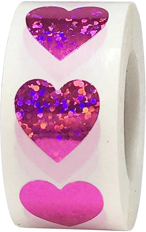 Rosa Caldo Cuore Adesivi 19 mm 3//4 Pollici di Larghezza 500 Etichette su Rotolo