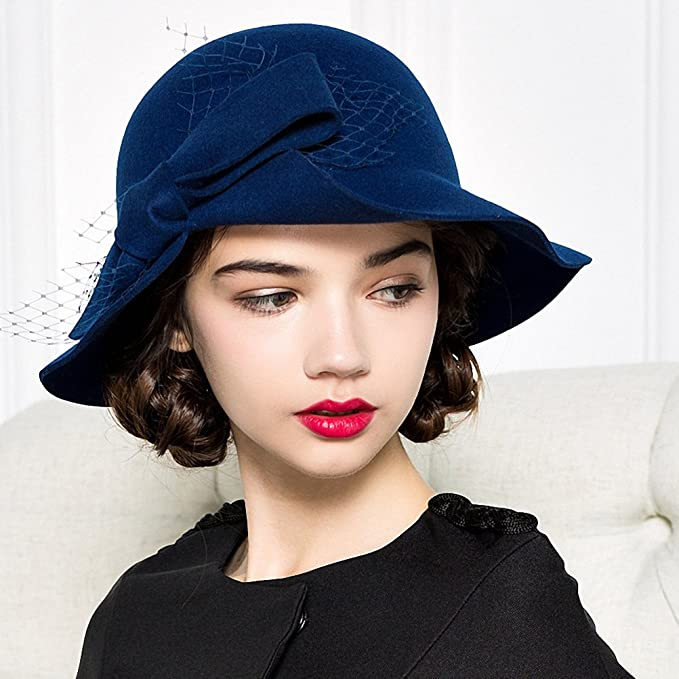 Wonder Woman Movie 1918 Clothing: Diana's London Costumes Maitose® Womens Bow Flowers Wool Felt Bowler Hat $33.70 AT vintagedancer.com