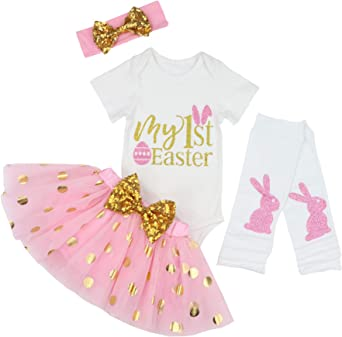 Toddler Girls 1st Birthday Party Outfit Bodysuit Dress Kids Tutu Romper Headband
