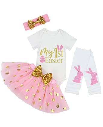64c1d06e72b5 Baby Girls 4PCs Sets My 1st Easter Tutu Romper Dress Short Bodysuit  Headband Outfit for 0