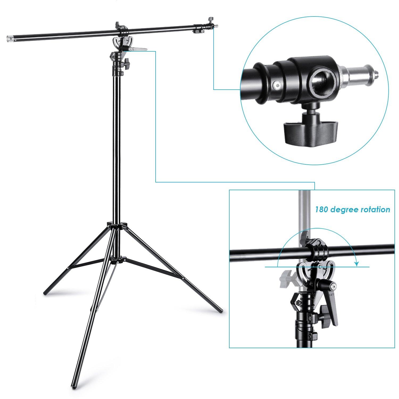 Neewer 10086546-390cm 2 Voies Rotation Boom Lumi/ère Tr/épied R/églable en Aluminium avec Sac de Sable pour Tr/épied pour Studio Photo Vid/éo