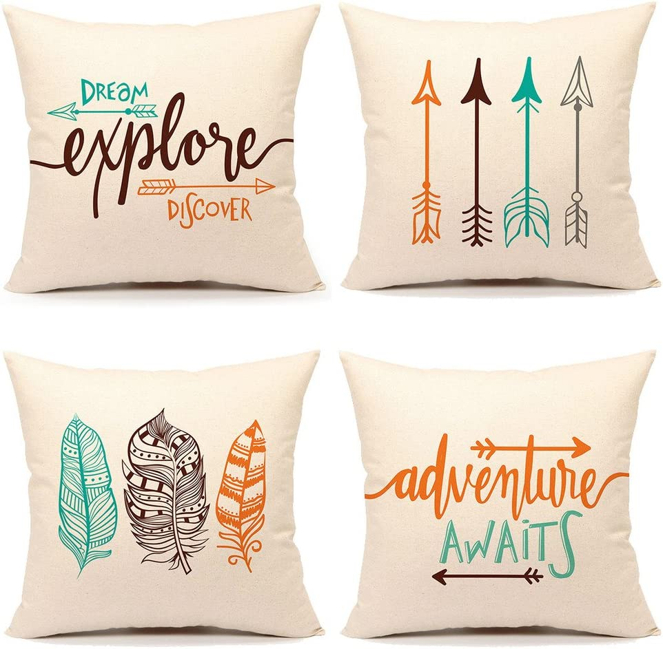 Amazon Com Inspirational Quote Throw Pillow Case Cushion Cover Decorative Cotton Linen 18 X 18 Set Of 4 Adventure Awaits Dream Explore Discover Ethnic Arrows Feathers Home Kitchen