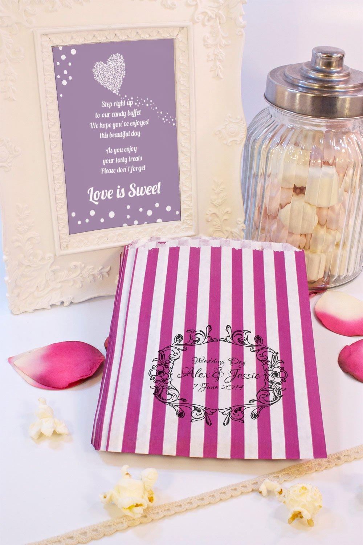 Personalizado boda dulces bolsas carro de boda Floral Candy Favor de la boda confeti Engagement: Amazon.es: Hogar