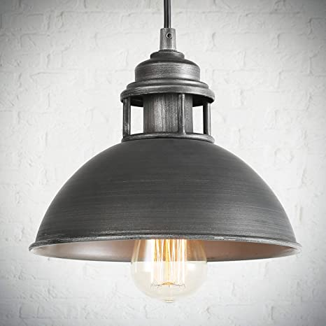 Log Barn Black Silver Brushed Pendant Lighting Industrial Hanging Fixture With Cutouts On Top For Kitchen Island Bedroom Dining Room Hallway And Foyer Amazon Com