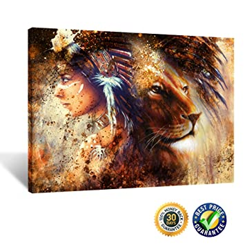 Kreative arts indian woman wearing feather headdress with lion abstract canvas prints abstract wall art