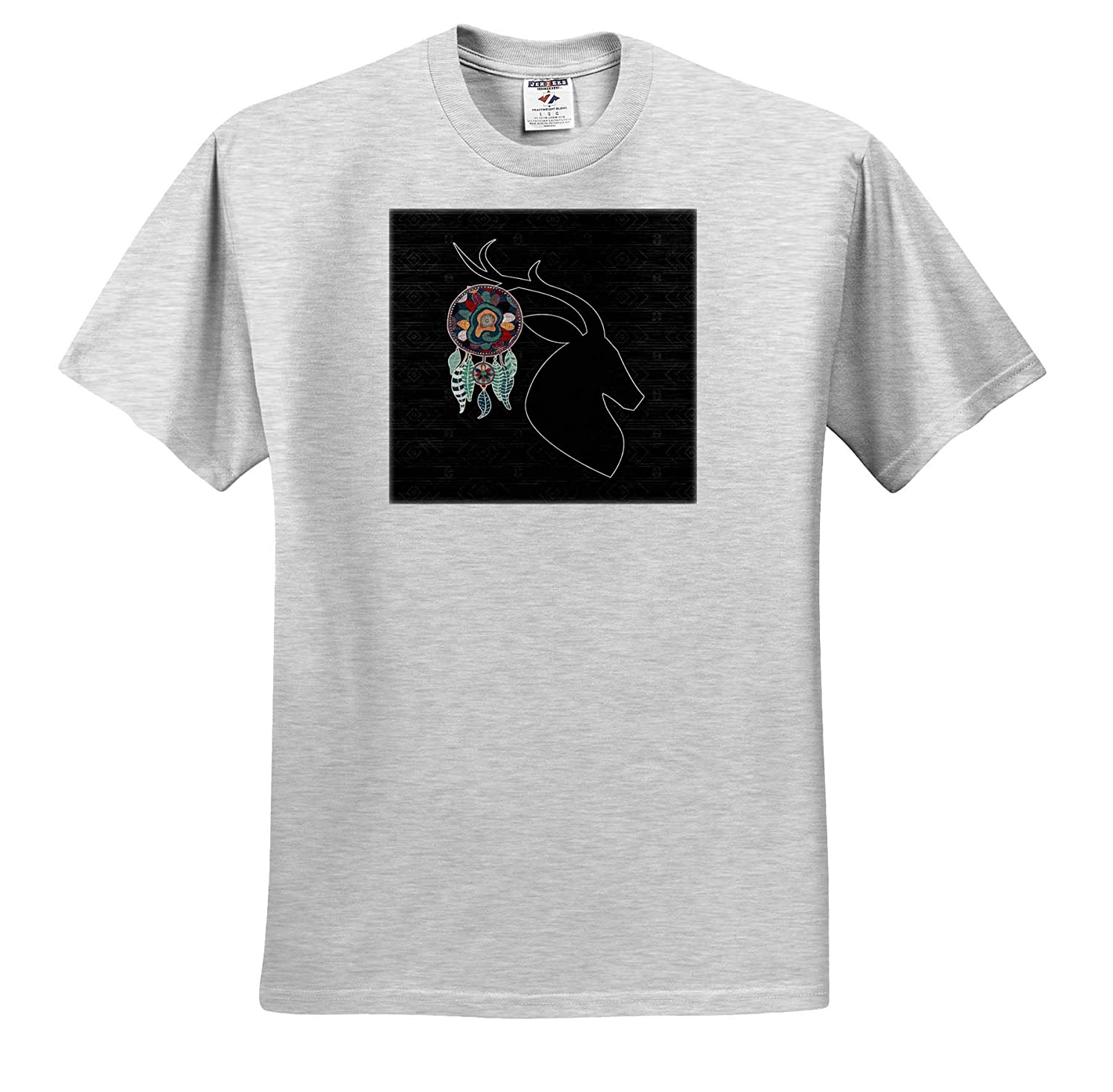 Deer Head Silhouette in Native American Tribal Style and Dream Catcher T-Shirts 3dRose Doreen Erhardt Native American