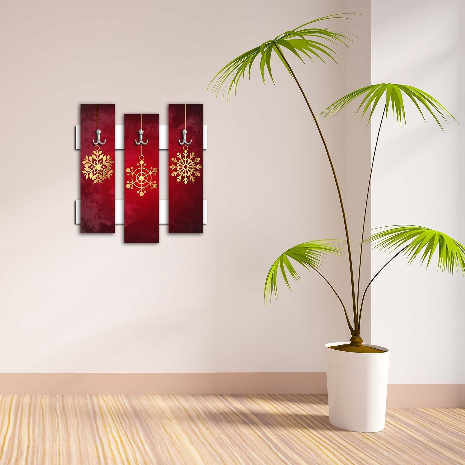 Decorative Wall Hook 3 Pcs Metal Key Holder 100% MDF Mounted Hanging Home Decor, Perfect for Foyers Entryway, Door Coats Hats Towels Scarfs Bags Golden Snowflake Claret Red Background Christmas
