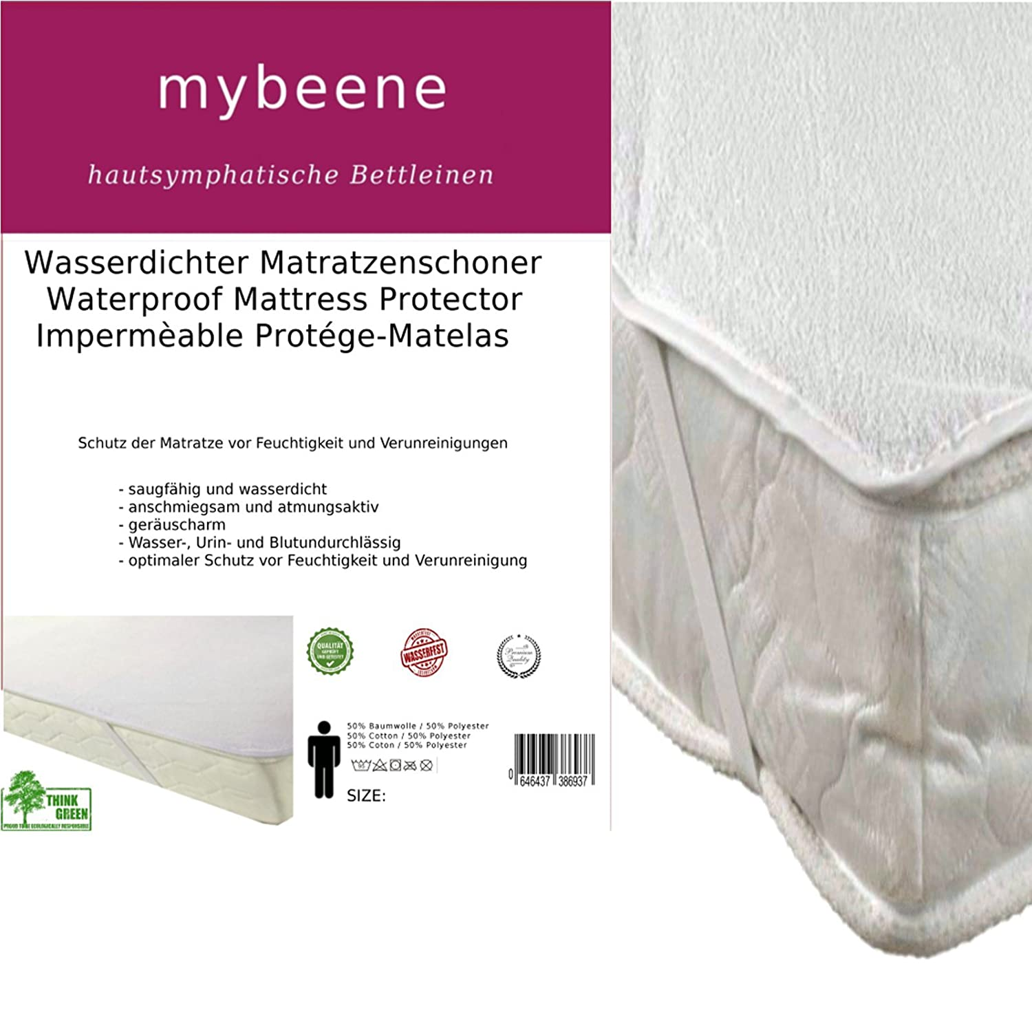 Mybeen Waterproof Mattress Protector in Various Sizes with 4 rubber straps | Terry Towelling Breathable | dryer safe and noiseless protective cover | white. mybeene