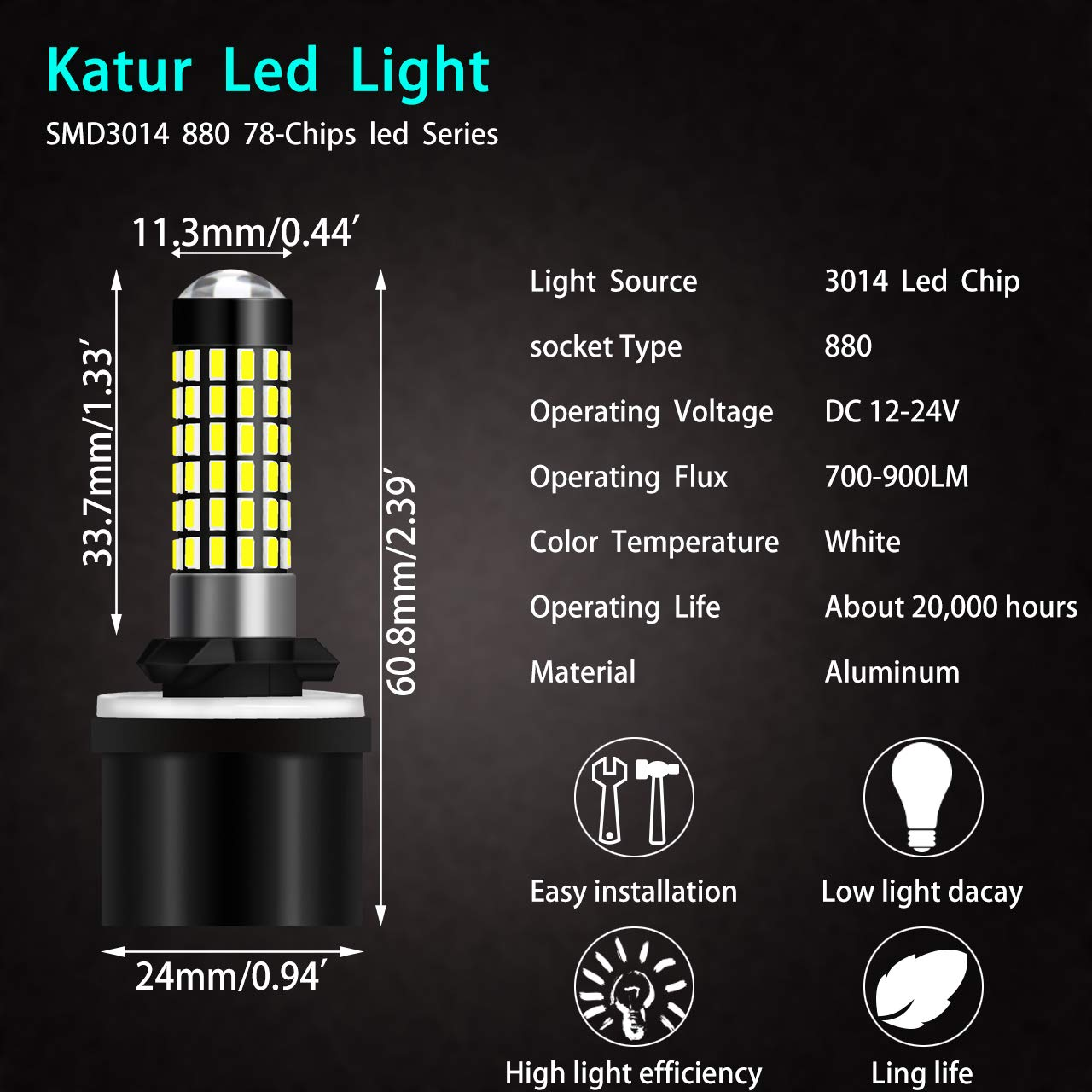 KaTur Extremely Bright 900 Lumens 3014 78-EX Chipsets 880 886 890 892 Led Bulb DRL Fog Lights Xenon White Pack of 2
