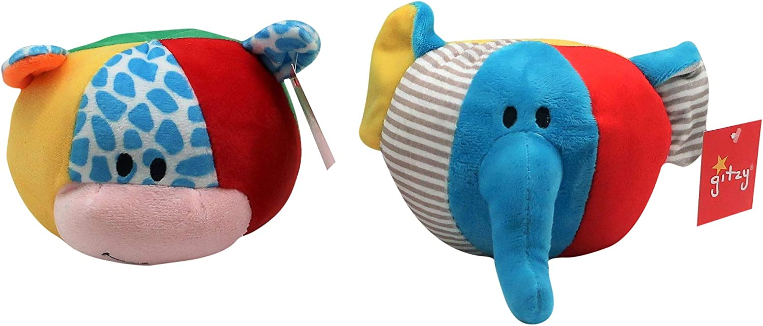 Bright Colors Plush Animal Rattle Balls by Forest /& Twelfth,Great Bedtime Fidget or Relaxation Toy for Babies Sounds and Soft Texture Stimulates Sensory Development in Children Cow /& Pig