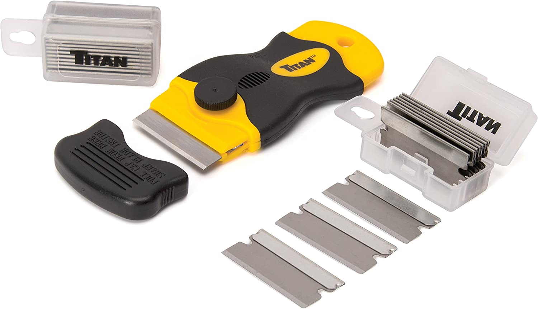 Titan Tools 17015 4-Inch Mini Razor Scraper with (21) #20 Steel Blades