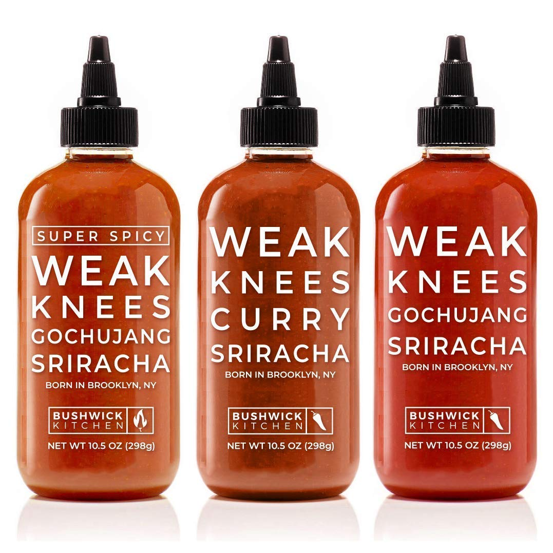 Bushwick Kitchen Sriracha Sampler Set, Includes Weak Knees Gochujang Sriracha, Super Spicy Gochujang Sriracha, Curry Sriracha Hot Sauce